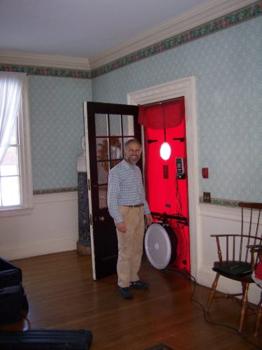 Blower Door tests energy efficiency after old house weatherization by Historic New England